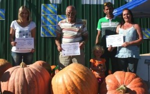 The winning Pumpkins from left to right. 1st Shirley Olivier, 2nd Dirk Rabie and 3rd Team Vera